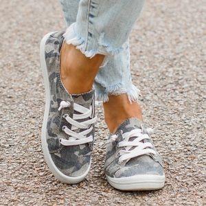 Camo canvas slip on sneakers